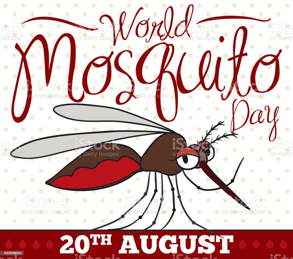 Cartoon Female Mosquito Saluting at You for World Mosquito Day vector art illustration