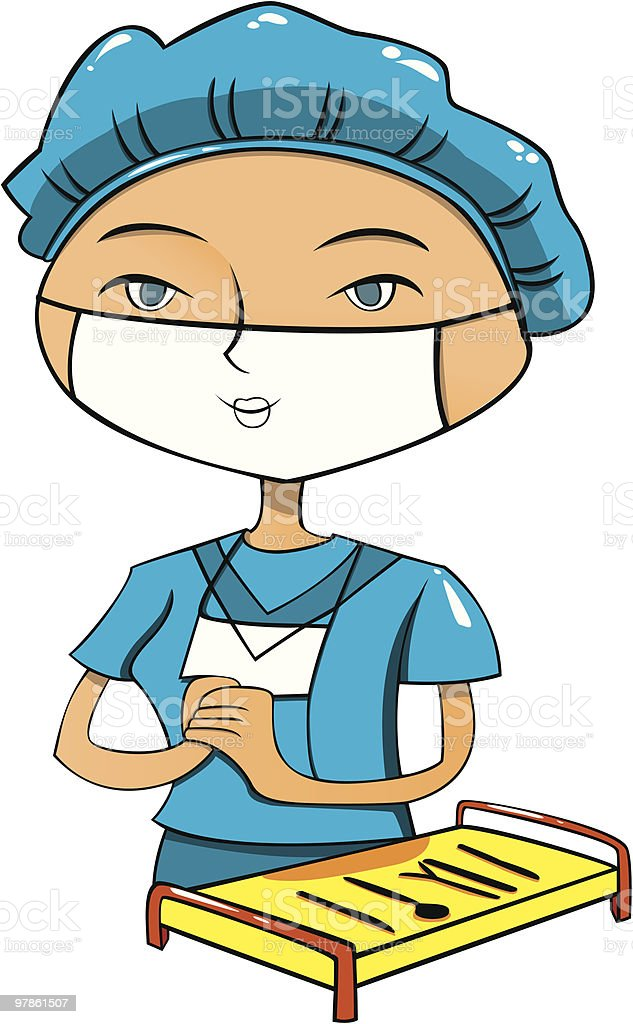 Cartoon female nurse in blue cloth royalty-free stock vector art