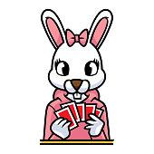 Cartoon Female Rabbit Playing Cards
