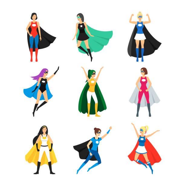 cartoon-weibliche superhelden-zeichen-icon-set. vektor - superwoman stock-grafiken, -clipart, -cartoons und -symbole
