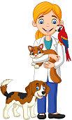 Vector illustration of Cartoon female veterinarian examining pets