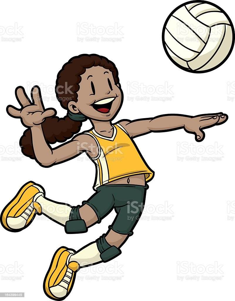 Cartoon female volleyball player jumping to hit the ball vector art illustration