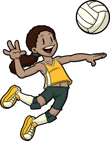 Cartoon Female Volleyball Player Jumping To Hit The Ball Stock Illustration Download Image Now Istock