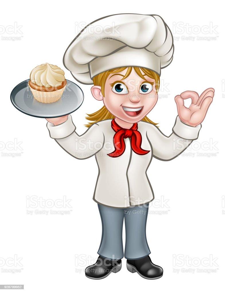 Cartoon Female Woman Baker or Pastry Chef vector art illustration