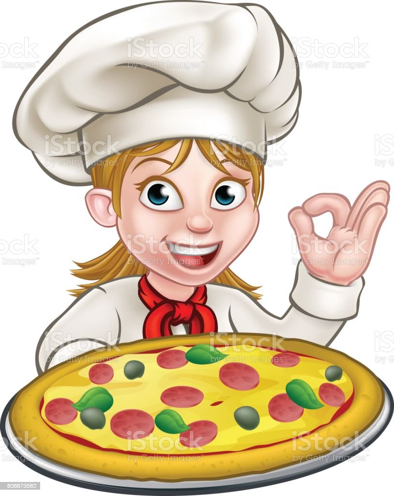 Cartoon Female Woman Pizza Chef vector art illustration