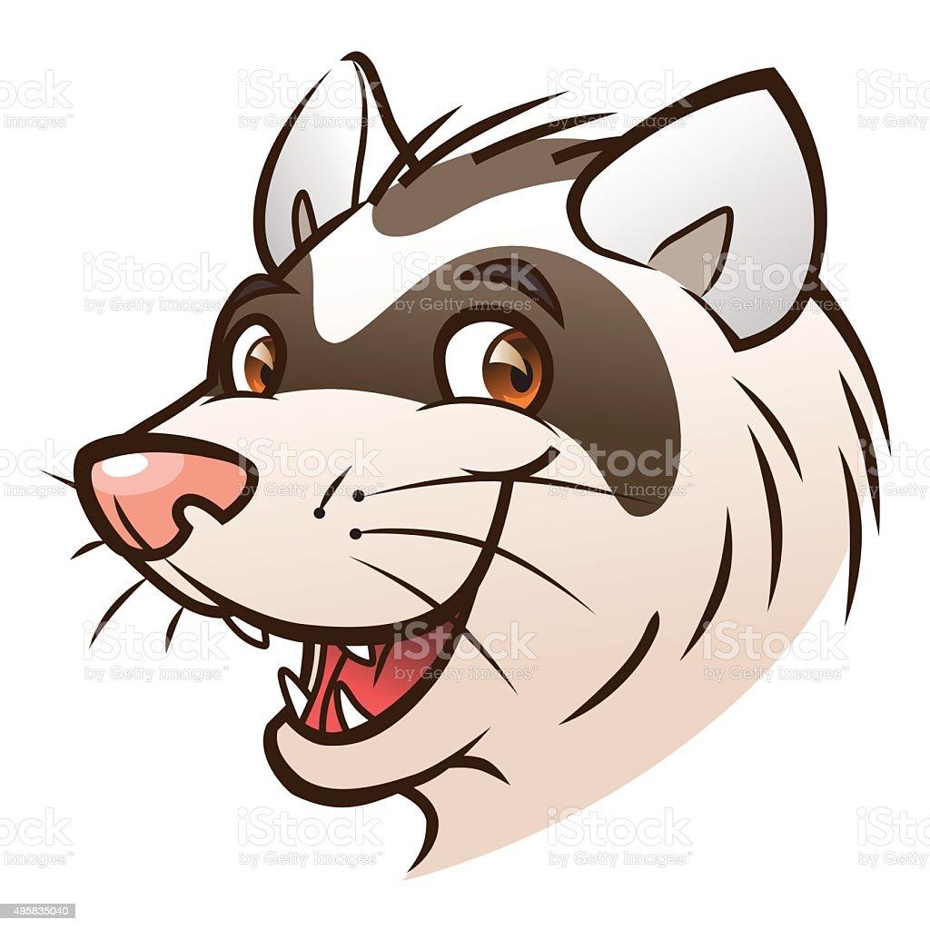 Dessin animé tête de ferret - Illustration vectorielle