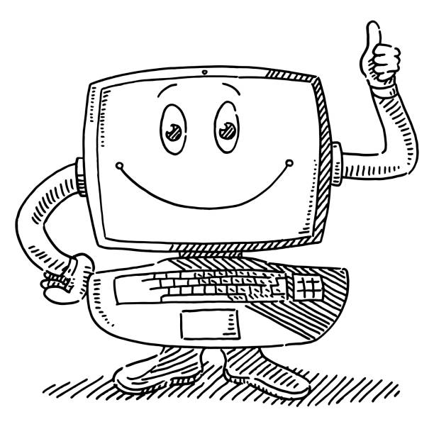 Cartoon Figure Computer Thumbs Up Drawing Hand-drawn vector drawing of a Cartoon Figure Computer with a Thumbs Up Hand. Black-and-White sketch on a transparent background (.eps-file). Included files are EPS (v10) and Hi-Res JPG. cartoon character figure stock illustrations