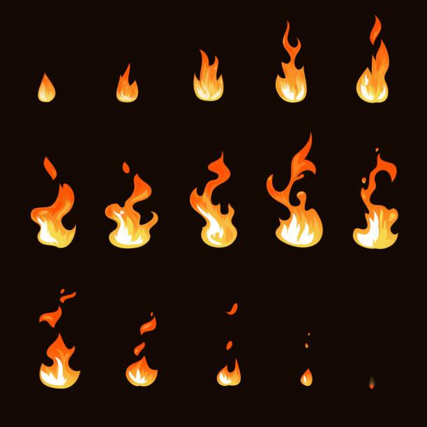 Cartoon fire flame sheet sprite animation vector set vector art illustration