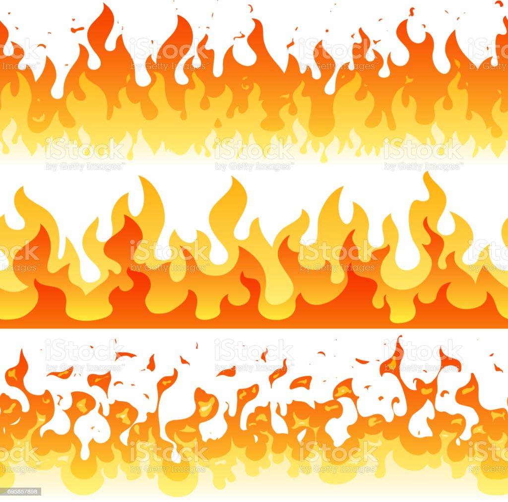 Cartoon fire flame vector seamless frame borders vector art illustration