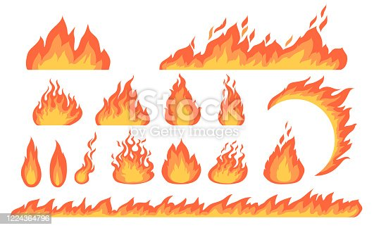 Cartoon fire flames flat vector collection. Cartoon car speed igniting symbol, campfire fiery silhouettes, hot blaze illustration set. Burning effects and bonfires concept