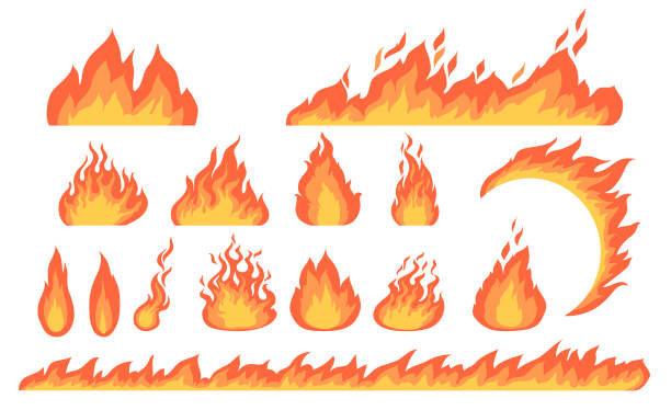 Cartoon fire flames flat vector collection Cartoon fire flames flat vector collection. Cartoon car speed igniting symbol, campfire fiery silhouettes, hot blaze illustration set. Burning effects and bonfires concept fire stock illustrations