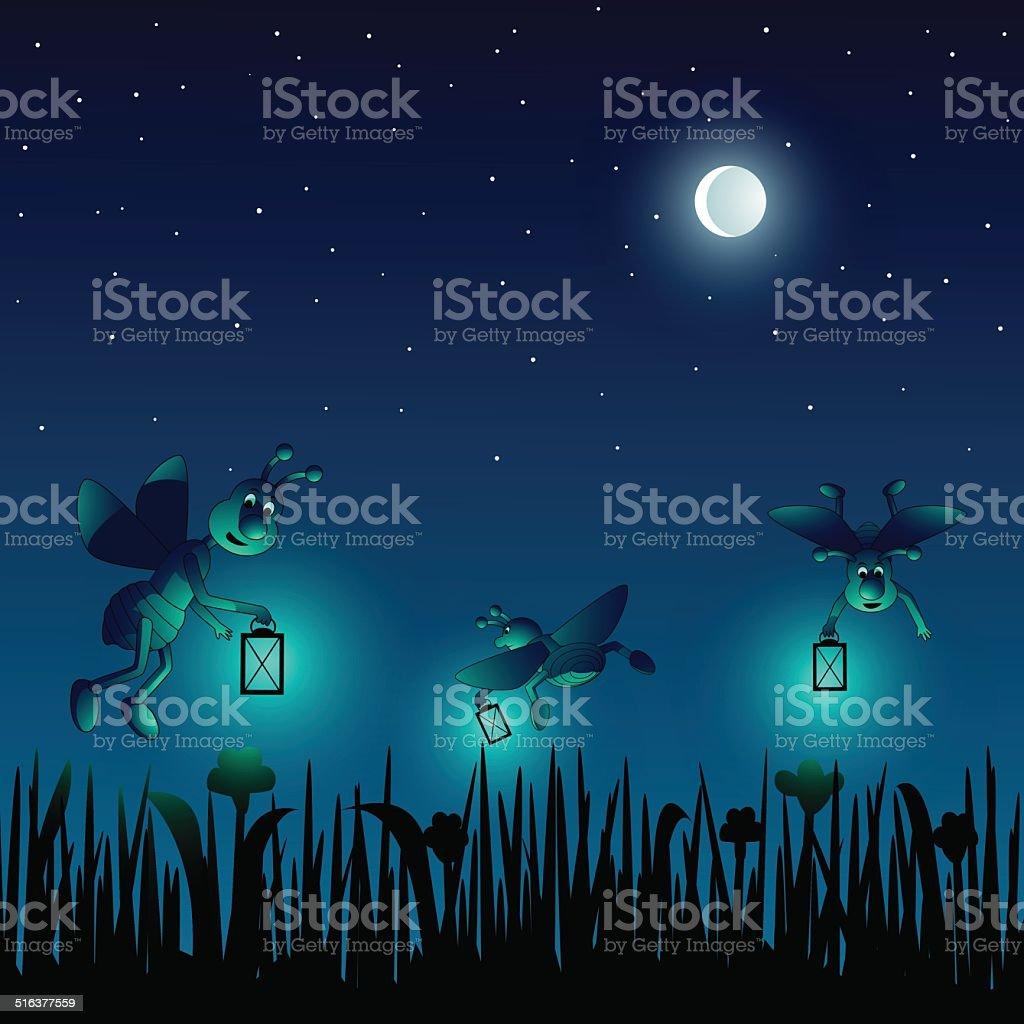 Cartoon fireflies on a meadow in a summernight vector art illustration