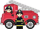 Vector Illustration of an adorably cute cartoon Fireman and Fire Engine.
