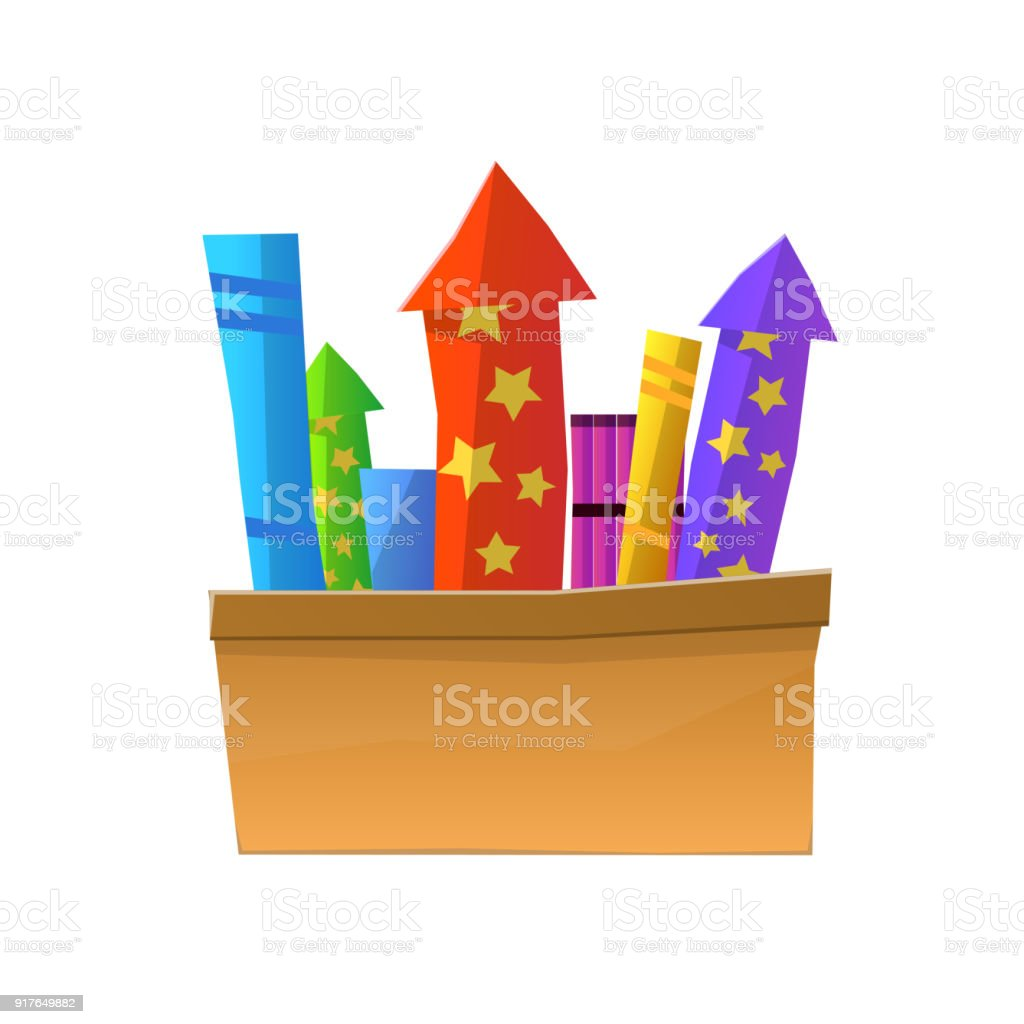 Cartoon Fireworks in Box Isolated on White Background