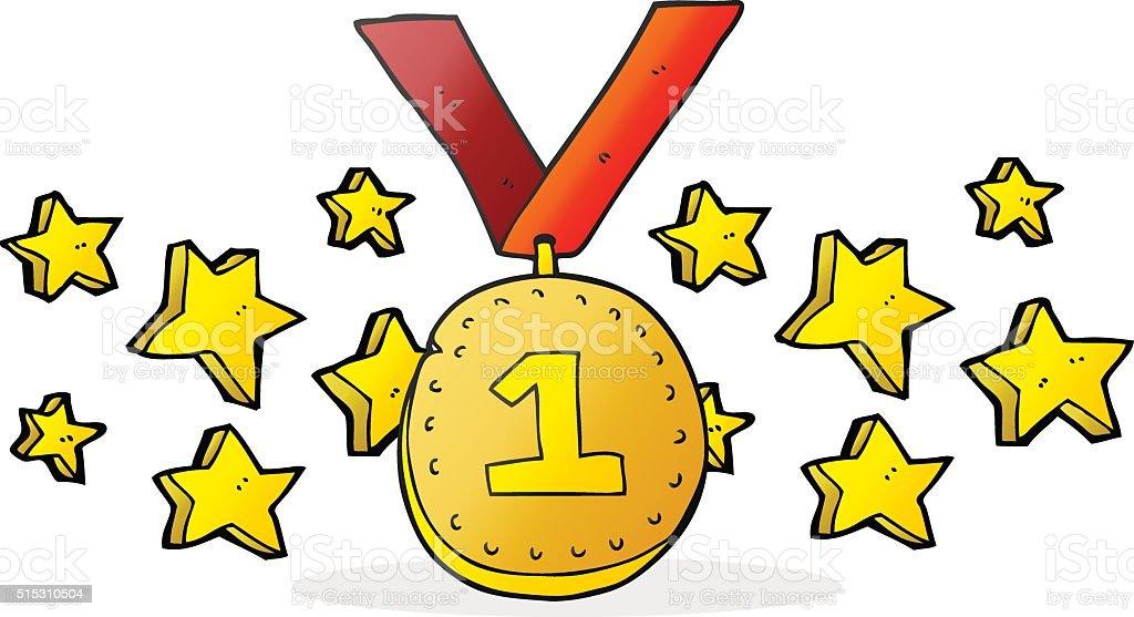 Viñeta De Primer Lugar De Entrega De Medallas