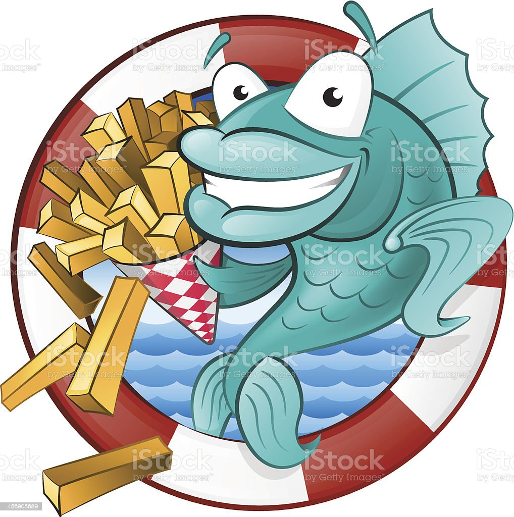 Cartoon Fish and Chips. vector art illustration