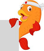 Cartoon fish chef holding blank sign