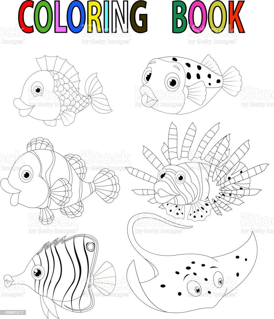 Peces De Historieta Libro Para Colorear - Arte vectorial de stock y ...