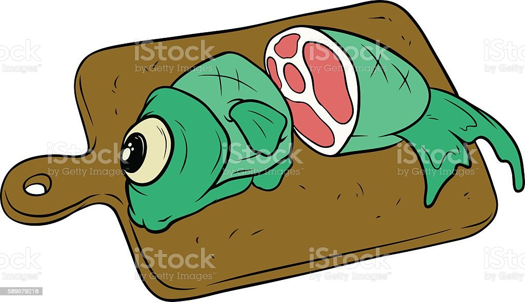 Cartoon fish on wooden cutting board stock vector art more images cartoon fish on wooden cutting board royalty free cartoon fish on wooden cutting board stock voltagebd Images