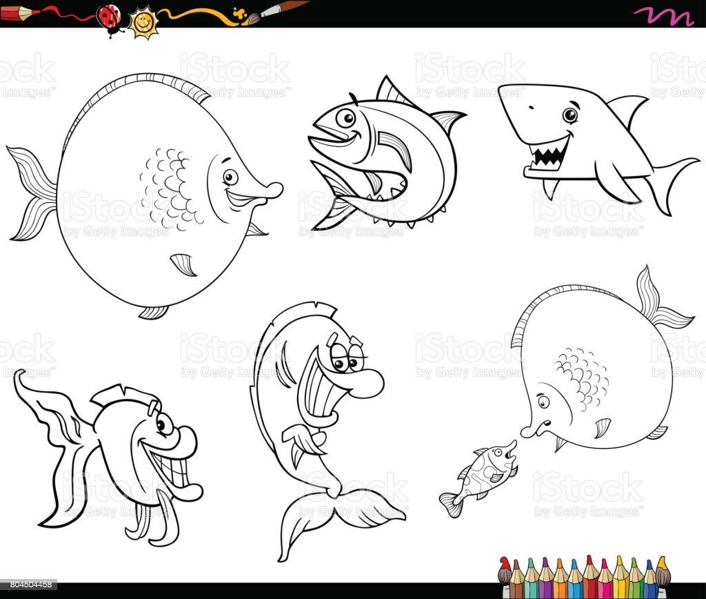 塗り絵漫画魚セット お絵かきのベクターアート素材や画像を多数ご用意