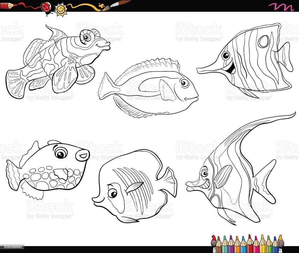 cartoon fish set coloring page vector art illustration