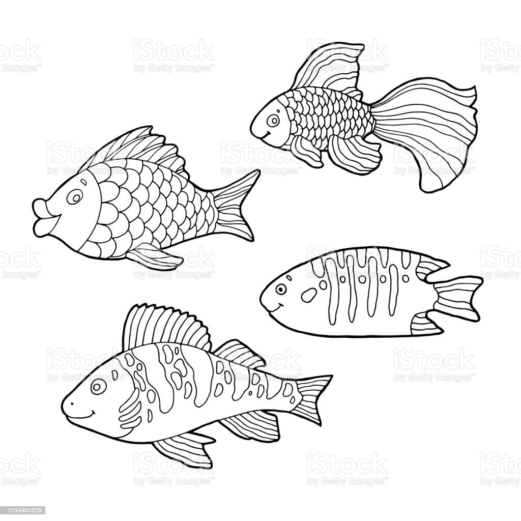 - Cartoon Fish Set Hand Drawing Outline Doodles Isolated Items