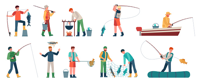 Cartoon fisherman. Fishermen in boats holding net or spinning. Fisher with fish, fishing accessory, hobby angling vacation vector characters