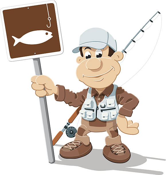 Cartoon Fisherman Fishing Sign Isolated Vector Illustration of a Cartoon Fisherman, who is holding a traffic sign with a fishing symbol. The illustration is on a transparent background (.eps-file). The colors in the .eps-file are ready for print (CMYK). Included files: EPS (v8) and Hi-Res JPG. cartoon people sign stock illustrations