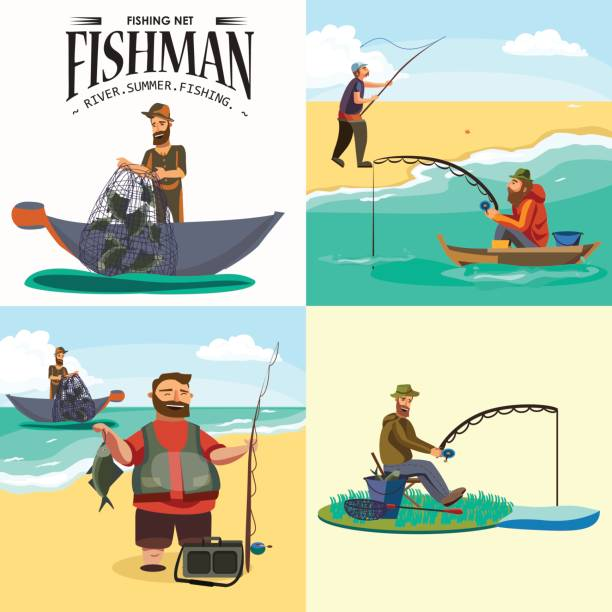 ilustrações de stock, clip art, desenhos animados e ícones de cartoon fisherman standing in hat and pulls net on boat out of sea, happy fishman holds fish catch and spin vecor illustration fisher threw fishing rod into water concept, man active hobby character design - fishman