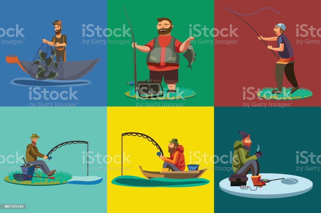 Cartoon fisherman standing in hat and pulls net on boat out of sea, happy fishman holds fish catch and spin vecor illustration fisher threw fishing rod into water concept, man active hobby character vector art illustration