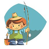 boy fisherman with a fishing rod bucket.Vector illustration.