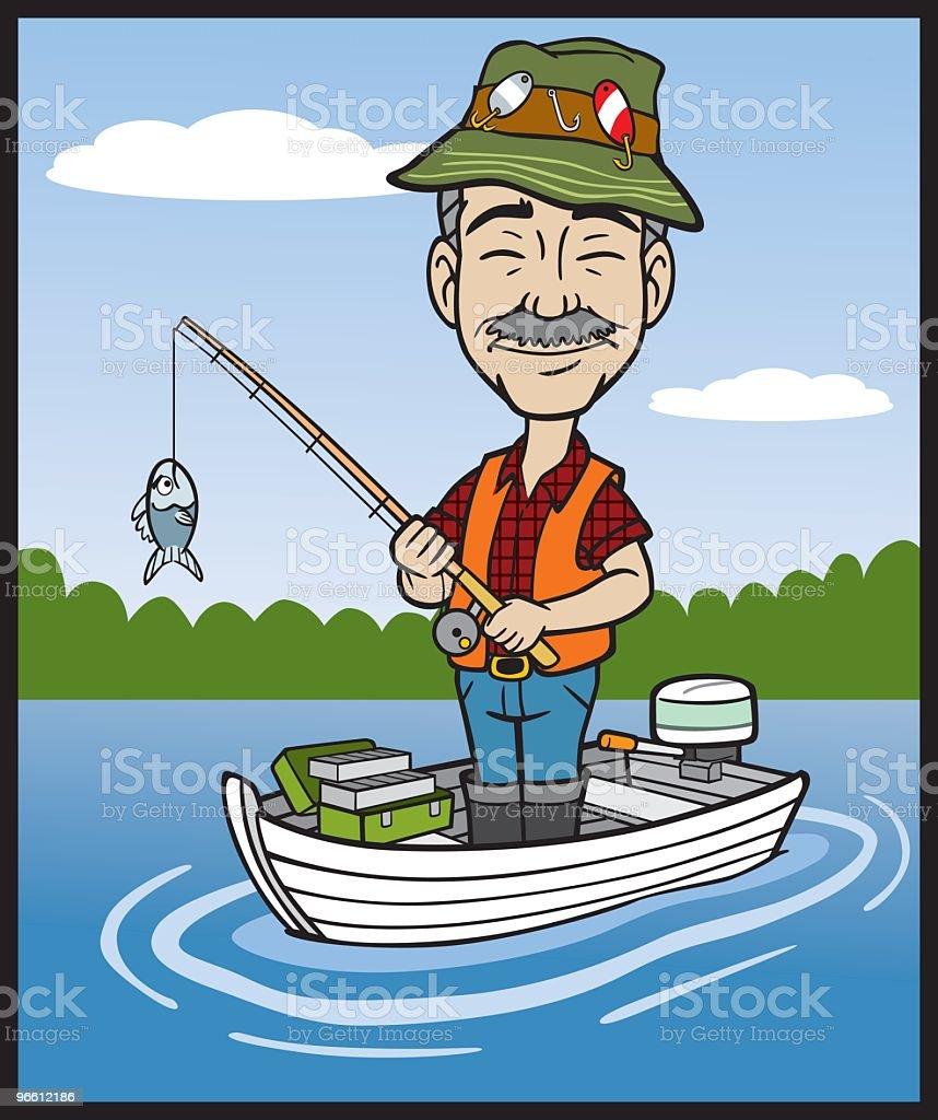 Cartoon Fisherman vector art illustration