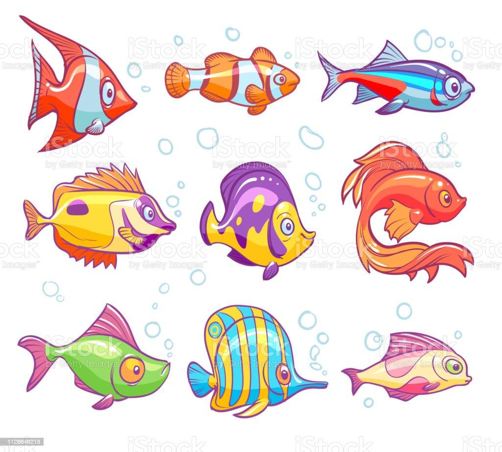 Vetores De Peixes De Desenhos Animados Aquario Do Mar Peixes