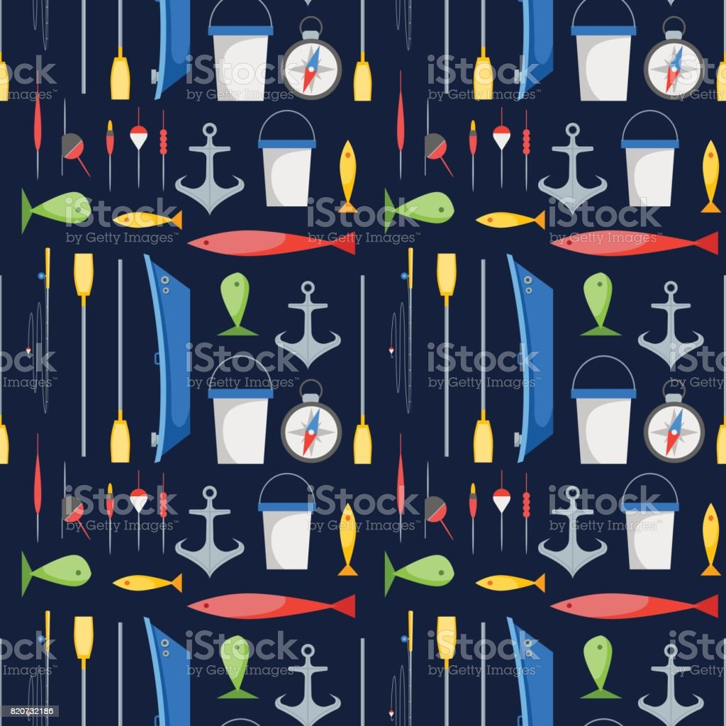 Cartoon Fishing Background Pattern. Vector vector art illustration