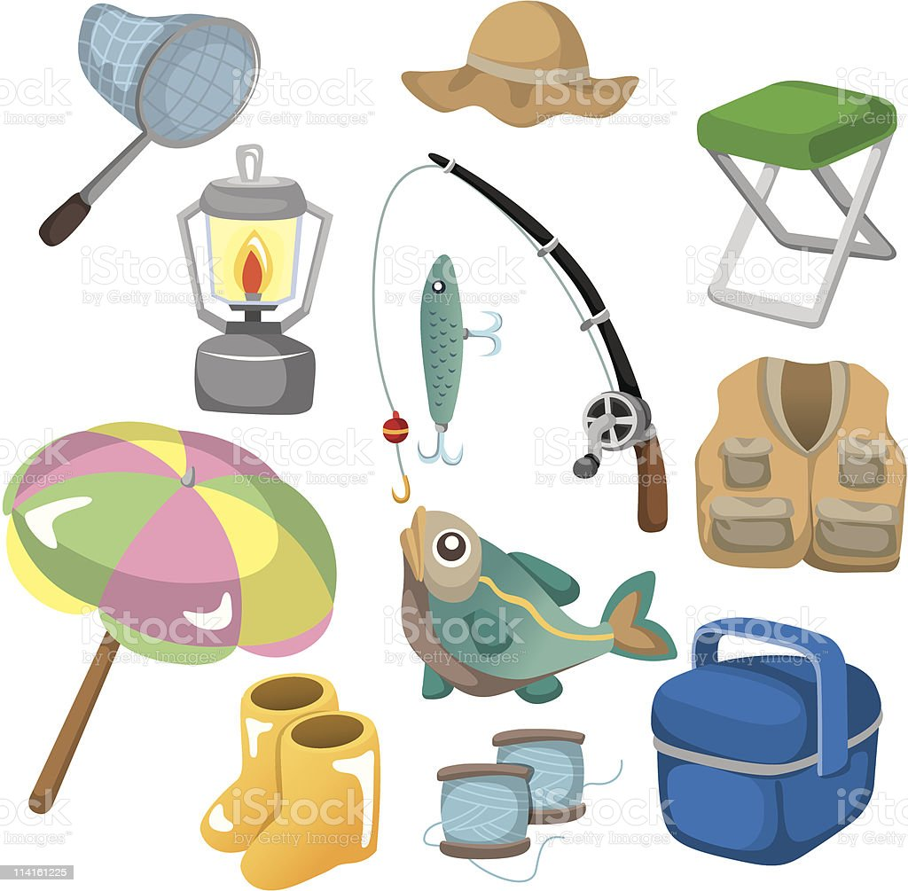 cartoon Fishing Tools icon vector art illustration