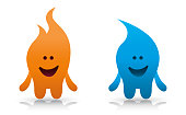Cartoon Flame and Water Drop Character