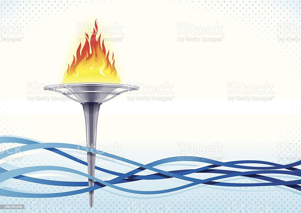 A cartoon flaming torch amongst several blue waves vector art illustration