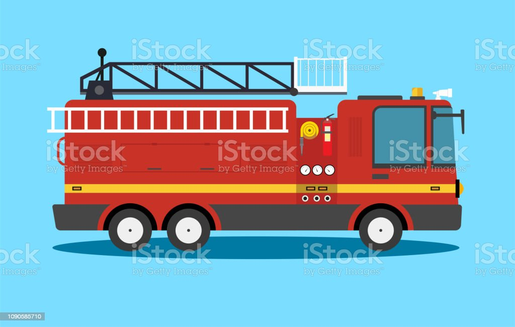 Dessin Anime Plat Camion De Pompier Americain Voiture Vector