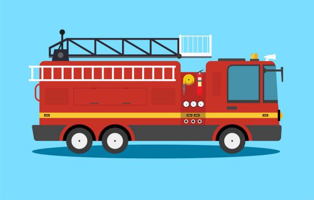 Cartoon flat American Firetruck car vector illustration emergency vehicle - Vector Fire Engine, Firefighter, Fire Station, Truck, Illustration fire engine stock illustrations