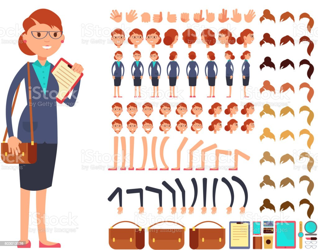 Cartoon flat businesswoman vector character constructor with set of body parts and different hand gestures vector art illustration