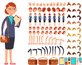 Cartoon flat businesswoman vector character constructor with set of body parts and different hand gestures