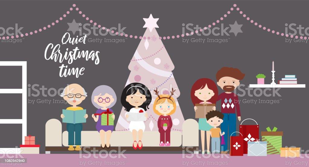 Mother Christmas Cartoon.Cartoon Flat Design Illustration Of A Family At A Christmas