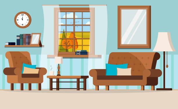 ilustrações de stock, clip art, desenhos animados e ícones de cartoon flat design vector illustration of cozy living room with furniture and window view of autumn fields landscape. - coffee table
