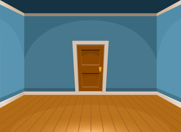 Cartoon flat empty room with a door in blue style. Vector illustration vector art illustration