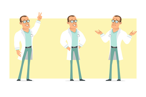 Cartoon flat funny strong doctor man character set