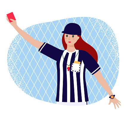 Cartoon flat girl referee in judge uniform with red card in hand - Vector stock illustration isolated on white background.