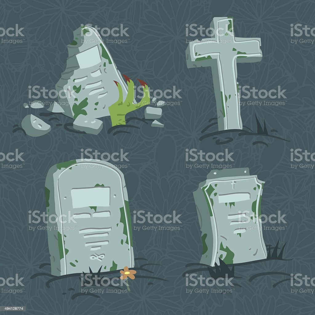 Cartoon flat Halloween tombs set. vector art illustration