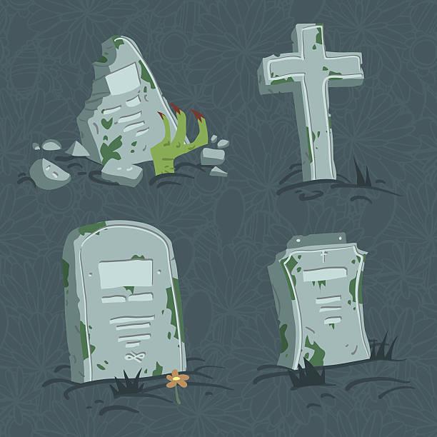 Cartoon flat Halloween tombs set. vector art illustration