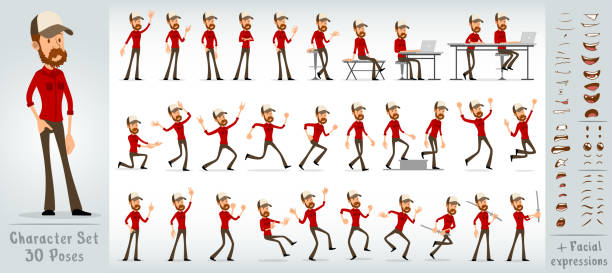 ilustraciones, imágenes clip art, dibujos animados e iconos de stock de dibujos animados flat hipster niño personaje gran conjunto vectorial - conductor de autobús