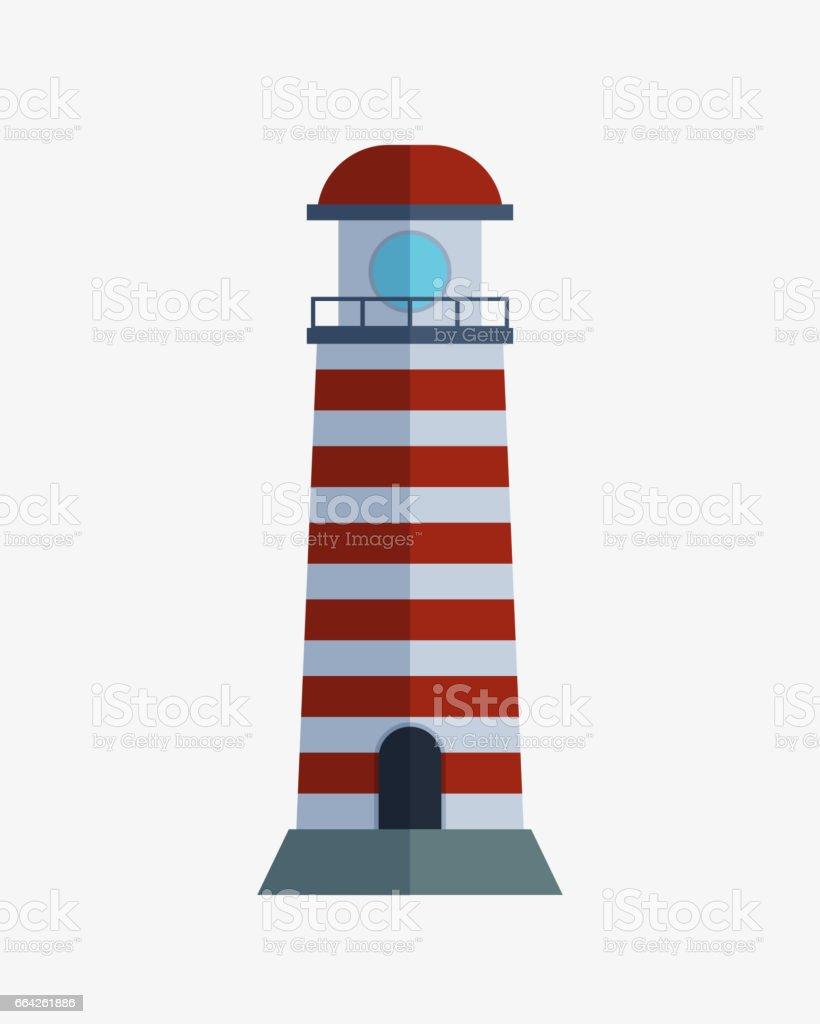 Cartoon Flache Scheinwerfer Leuchtturm Für Maritime Navigation ...